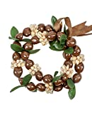 Barbra Collection Hawaiian Leis Kukui Nut Beads Necklaces with Cowrie Shell for Men and Women 28' Adjustable Assorted Color Lei (Brown)