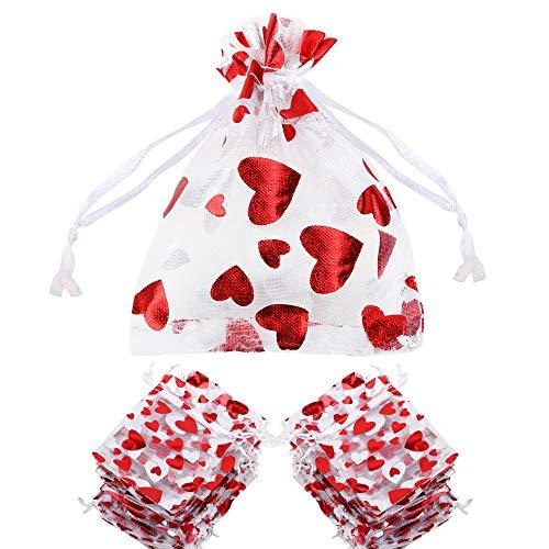 FLOFIA 100pz Sacchetti Organza 8x10cm per Regalo Gioielli Confetti Sacchettini Piccoli con Coulisse Bustine in Organza Cuorini Cuore per Valentine's Day Bomboniere Matrimonio Compleanno Festa Rosso