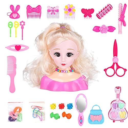 Tablecloth Juego de maquillaje Prentend, modelo de peinado de pelo de cabeza, juguetes de cabeza de muñeca para peinar, accesorios para el cabello con secador para niñas y niños