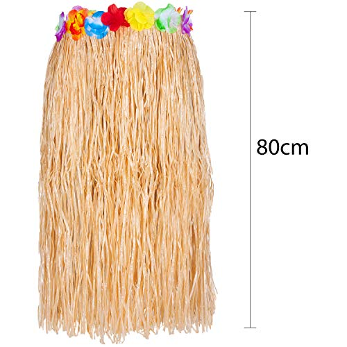 Juego de 6 faldas hawaianas de hierba con guirnaldas Lei y gafas de piña elegidas entre paja o falda múltiple, para verano, playa, hawaiana, tropical, disfraz de fiesta