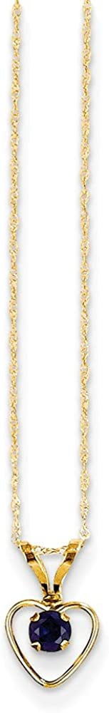 Solid 14k Yellow Gold 3mm Sapphire Blue September Gemstone Heart Birthstone Pendant Necklace Charm Chain 15