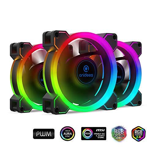 anidees AI Aureola Duo 80mm 3er RGB PWM Lüfter Kompatibel mit adressierbaren 5V 3pin RGB Header, für Gehäuselüfter, Kühlerlüfter, mit Fernbedienung (AI-AR-DUO8)