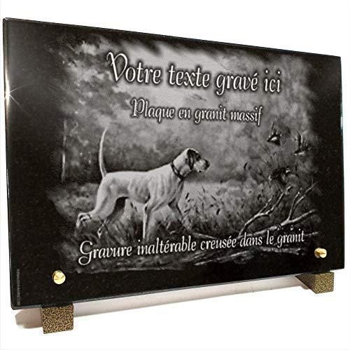 Plaque funéraire Chien de Chasse + Perdrix + Nature en Granit gravé Personnalisable 30 x 20 x 2 cm