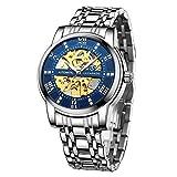 Reloj para hombre Negro Mecánico Esqueleto de acero inoxida