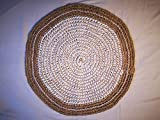 Alfombra de Yute Tejida a Mano, cordón Artesano con más de 680 Nudos Dobles, 62 cm de diámetro,bohochic, rústico, Natural, decoración, Sala de Estar, salón, recibidor. Regalos Originales.