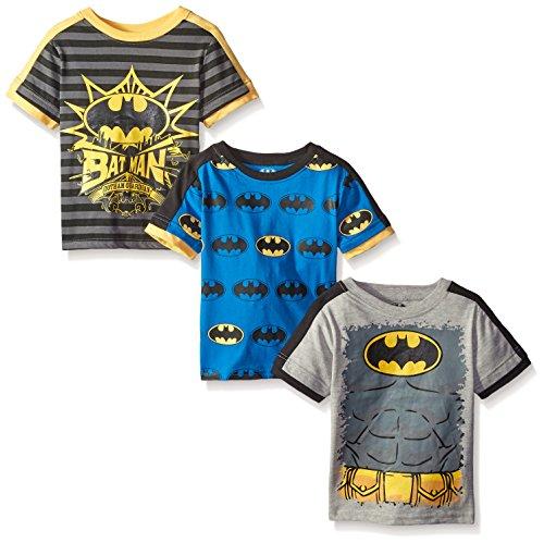 Batman Little Boys' Value Pack T-Shirt Shirts, Gray 3 pack, 6