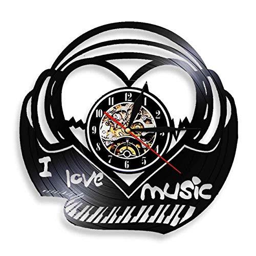 FUTIIF Amo La Música Teclado De Piano Latido del Corazón Disco De Vinilo Luz De Pared Sonido Onda Canción Reloj Voz Auriculares Decoración De Pared con Led