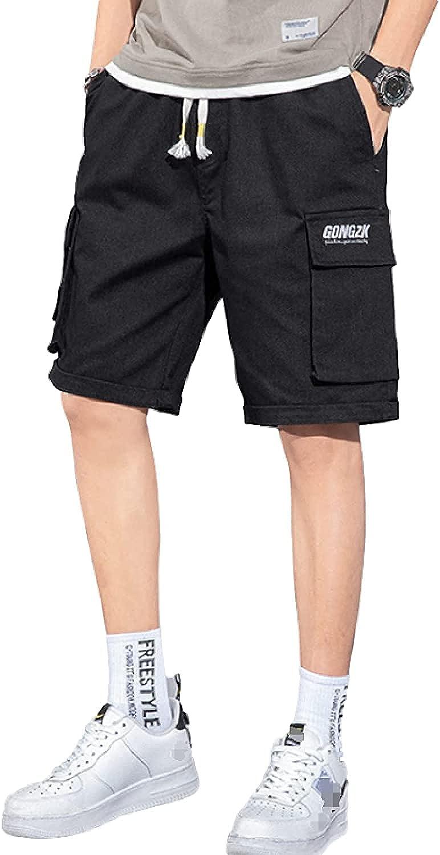 Men's Retro Casual Cargo Shorts Alphabet Embroidery Trendy Streetwear Pants
