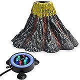 NICREW Aquarium Volcano Ornament Kit, Bubbler Decorations for Fish Tank, Aquarium Bubbling with Multi-Color LEDs