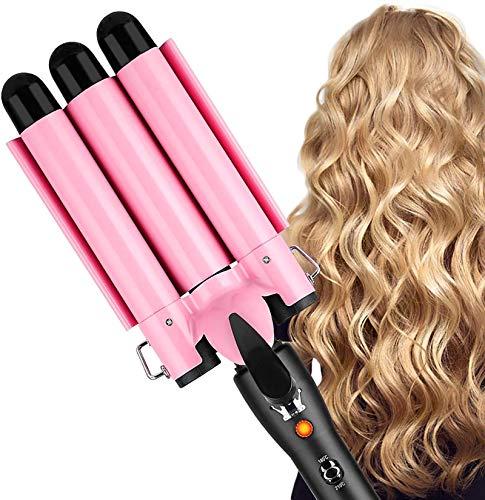 Lockenstab, CreBeau 3 Fässer Große Lockenstab Haarwickelzange Hair Waver Pearl Waving Lockenwickler, Wellenstyler Turmalin Keramik Digitale Temperaturanzeige für Lange/kurze Haare