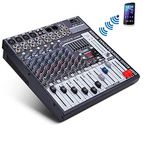 Boytone BT-80MX 8-Channel Bluetooth Audio Mixer DJ Sound Controller, 7 Band EQ, 16 DSP Effects, USB
