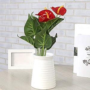 Polytree 1Pc Anthurium Flower Artificial Fake Outdoor Plant Floral Arrangements Home Kitchen Bedroom Christmas Decor