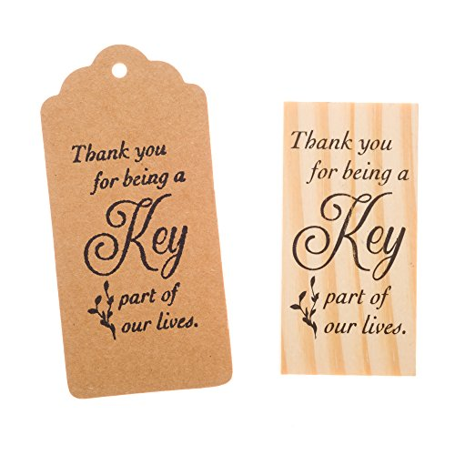 Ella Celebration Wooden Rubber Stamp for Tags, Thank You Stamps for Wedding Guest Favors (Thank You Cursive)