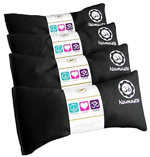 Happy Wraps Namaste Lavender Yoga Eye Pillows - Hot Cold Aromatherapy for Stress, Meditation, Spa, Relaxation Gifts - Set of 4 - Black Cotton
