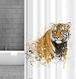 KSHANDEL24 Textil DUSCHVORHANG Tiger 180x200 cm INKL. DUSCHVORHANGRINGE Weiss Hellbraun SCHWARZ