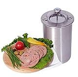 JasCherry Edelstahl Druck Schinken Kocher Schinkenpresse für Gesunde Wurst Hausgemachte Fleisch Presse mit Thermometer - Schinkenkocher Pot für Bacon Sandwich Druck Fleisch