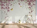 Abihua Wandbilder 3D Wallpaper Fototapete Benutzerdefinierte Mural Wohnzimmer Kirschblüten Schmetterling 3D Malerei Tv Hintergrund Wallpaper Für Wände 3D 460Cm X 280Cm