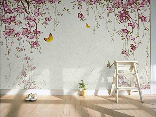Yosot 3D-Tapeten Fototapete Benutzerdefinierte Wandbild Wohnzimmer Kirschblüten Schmetterling 3D Malerei Tv Hintergrundbild Für Wände 3D-250Cmx175Cm