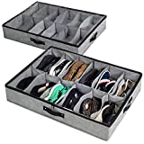 storageLAB Under Bed Shoe Storage, Shoe Organizer Under Bed with Clear Top Cover and Sturdy Sides - Set of 2, Fits Up to 24 Pairs Total - Bedroom Storage and Organization
