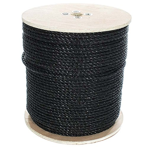 West Coast Paracord Twisted 3 Strand Polypropylene Rope (Black, 5/16 Inch, 600 Feet) - Waterproof and Floats in Water