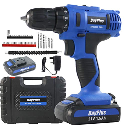 21V 1500mAh Battery Cordless Driver Hand Drill with Speed Control, LED Light and Up to 45Nm of Torque, Includes Accessory Set of Drill, Charge, Driver Bits,Compact Tray Case for Home, Office,DIY