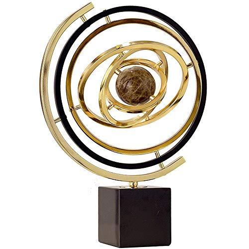 BTTNW Lehrmaterial Globen Weltkugel-Spinning Globe for Kinder Marmor Metall Globe Studie Bürodekoration Wohnzimmer Heim Geographische Globes (Farbe : Gold, Size : 35x10x43cm)