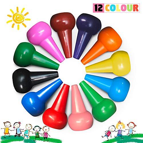 Richgv Kleinkinder Wachsmalstifte,12 Farben Wachsmalblöcke Ungiftig Waschbar Zeichenstift Buntstifte Farbstifte Zeichnen Stifte Wasserfest für Kinder Babys Studenten Malstifte Spielzeug (Finger)…