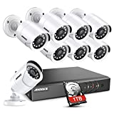 ANNKE 5MP Lite 8CH Security Surveillance Camera System H.265+ Wired DVR and (8)×1080P HD Weatherproof CCTV Camera System, 100ft Night Vision, Easy Remote Access, 1TB Hard Drive--Y200