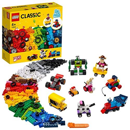 LEGO Classic Klocki na kołach 11014 — zestaw konstrukcyjny dla dzieci z ciekawymi modelami na kołach, które zainspirują maluchy (653 elementy)