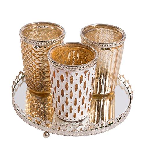 Home&Decorations Teelichtglas mit Spiegelplatte Gold Kerzenglas, Glas, 7x10 cm