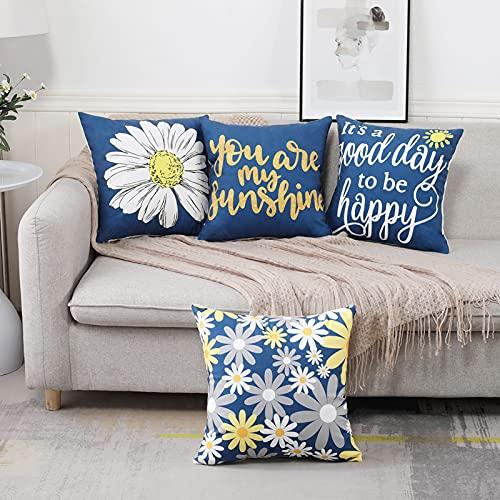 Throw Cojines Fundas de Almohada Azules Y Amarillas Fundas de Cojines Decorativos 45x45cm Juego de 4 Cuadrados con Diseño de Flores Suaves 18X18 con Cremallera Invisible Para Sofá Cama Sala de Estar
