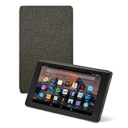 Designed by Amazon to protect and perfectly fit your Fire HD 8 (only compatible with 7th and 8th Generation - 2017 and 2018 release) Slim design with built-in stand for hands-free viewing in landscape or portrait orientation Full-cover case with magn...