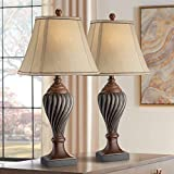 Traditional Style Table Lamps Set of 2 Carved Two Tone Dark Brown Urn Shape Beige Rectangular Shade Decor for Living Room Bedroom House Bedside Nightstand Home Office Family - Regency Hill
