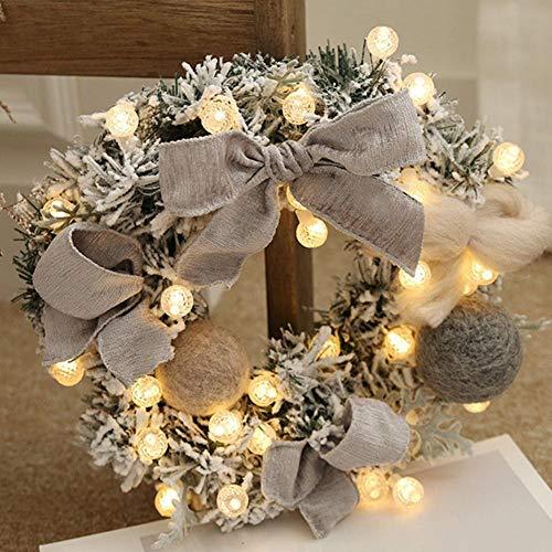 succeedw Corona De Navidad con Luces, Navidad Artificial Rota Puerta Guirnalda De La Flor Que Cuelga con...