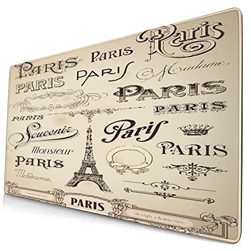 Extra Groß Spiele Mauspad mit Genähten Kanten,Eiffelturm mit Paris der verschiedenen Schriftart Black Sketch France Style,Rutschfest Gummibasis Computer Tastatur Matte,29.5