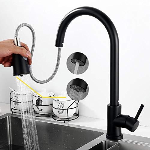 Ideko Rubinetto miscelatore cucina con doccetta estraibile, moderno con tubo flessibile x 2, nero