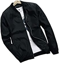 Hzcx Fashion Men's Classic Soild Color Thin Light Weight Flight Bomber Jacket