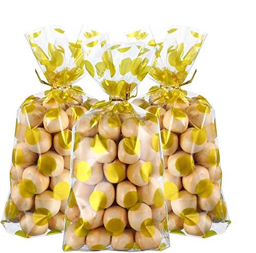 Funnyshow 100Pcs Cellophane Sac pour Biscuits, gâteaux, Chocolat, Bonbons, Snack, Sacs de fête d'anniversaire