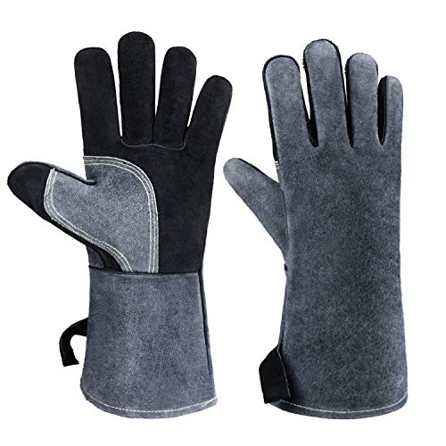 932°F Heat Resistant Leather Welding Gloves BBQ Grill Glove Flame Retardant for Tig Welder/Grilling/Barbecue/Oven/Fireplace/Wood Stove - Long Sleeve and Insulated Lining (Black-gray,14-inch)