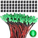 RUNCCI-YUN 65Pcs 3mm Luces LED de Diodo 12V DC Pre Wired LED Diodos Emisores de Luz Lámpara+ 65Pcs 3mm Plástico Soporte de LED Clip Montaje para DIY Coche Barco Juguetes Partes (verde)