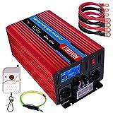 Inversor 24V 220v Onda Pura 3000W /6000W ETREPOW Convertidor de Voltaje con 2 Tomas UE y un USB de 2,1A, Mando a Distancia Inalámbrico, Pantalla Digital y 2 Ventiladores