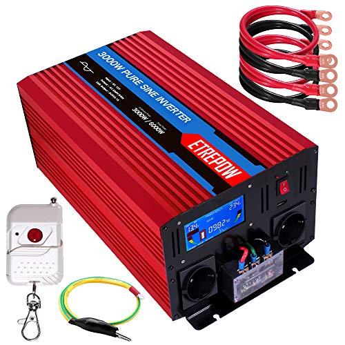 Inversor 12v 220v Onda Pura 3000W /6000W ETREPOW Convertidor de Voltaje con 2 Tomas UE y un USB de 2,1A, Mando a Distancia Inalámbrico, Pantalla Digital y 2 Ventiladores -Auto Transformador