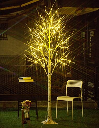 Bolylight Birch Tree 8ft 136L LED Lighted Brich Tree for Christmas Decorations for Home Bedroom Party Wedding Office Indoor and Outdoor Warm White