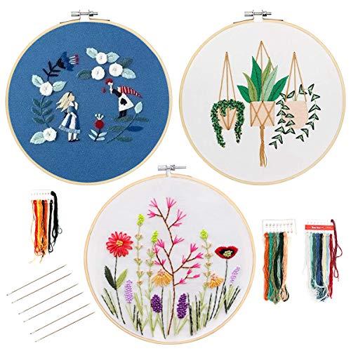 Souarts borduurset, trommel om te borduren, borduuren, cirkels, kleurrijke draden, stof, bloemenmotief, voor beginners, knutselen, decoratie