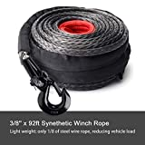 OFF ROAD BOAR 3/8'' x 92ft Synthetic Winch Rope, 25000lbs Recovery Cable Line,Winch Line Extension for ATV/UTV 4WD Vehicle Jeep SUV(Black)
