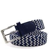 Gloop - Cinturón elástico unisex de tela trenzada para hombre y mujer, longitud total 105 cm/110 cm/115 cm/120 cm Ancho: 3,5 cm. Fabricado en Alemania. azul/gris Longitud total 115 cm