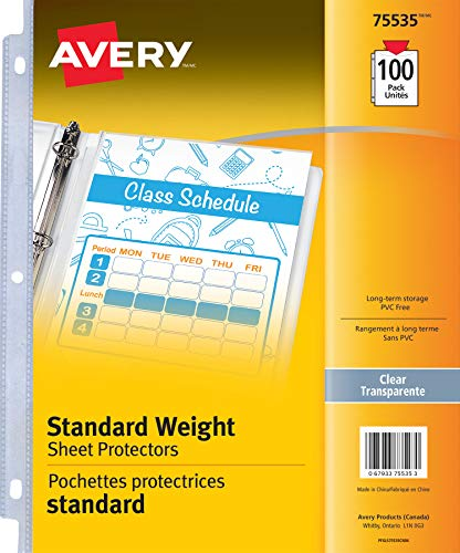 """Avery Standard Weight Sheet Protectors, Acid-Free, Archival Safe, Top Loading, Fits 8.5"""" X 11"""", 100 Sheets (75535)"""