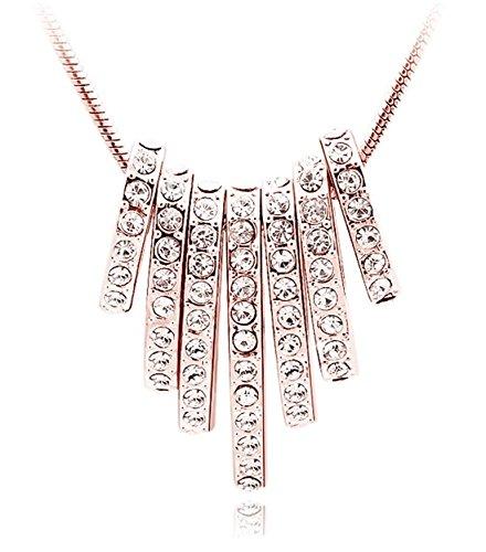 Quadiva E! Damen Halskette mit 7-Ovalen-Anhänger (Farbe: Rosegold) verziert mit funkelnden Kristallen von Swarovski®