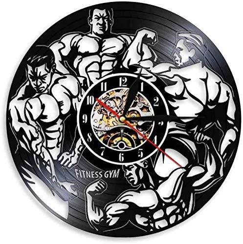 Muscle Man Music Disco de Vinilo Reloj de Pared Arte Decoración de la habitación del hogar Juego de Regalo de músico Idea para Amantes de la música Reloj LP de 12 Pulgadas Negro