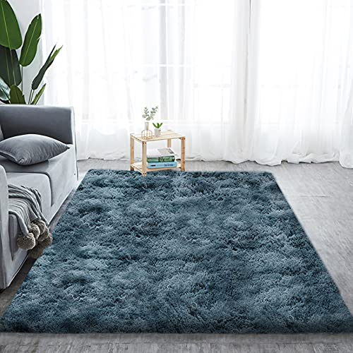 Alfombra de pelo largo para salón, suave área de rea, dormitorio, Shaggy, dormitorio, alfombra de cama, exterior, color azul oscuro, 200 x 300 cm